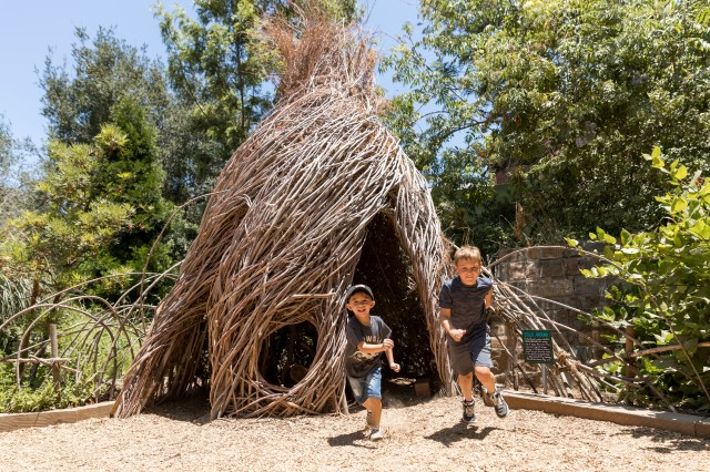 Boys run out of a house made of willow branches