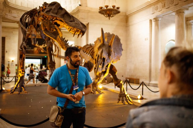 Gallery Interpreter gives tour of Dueling Dinos