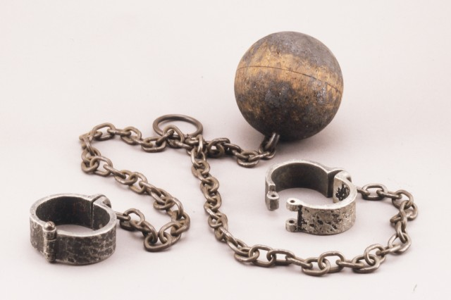 Chains and ball that were used to restrain Frankenstein's monster