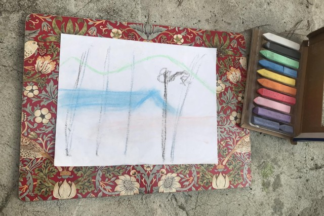 Rough sketch with colors showing outlines of palm trees and color blocks