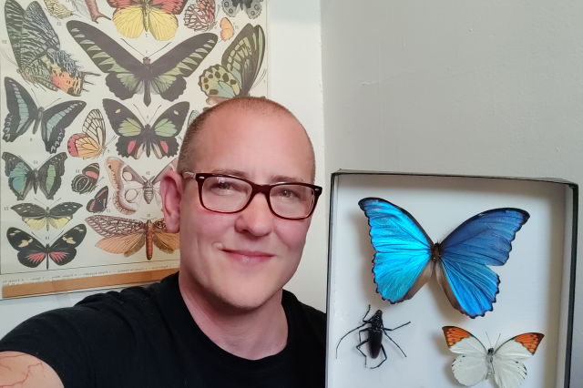 Image of Forest Urban holding a display of pinned butterflies.