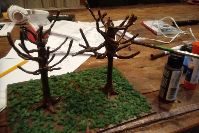 Two clay trees