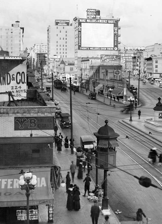 black and white image of downtown los angeles