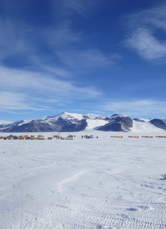 Shackleton Glacier camp and Cumulus Hills in Antarctica