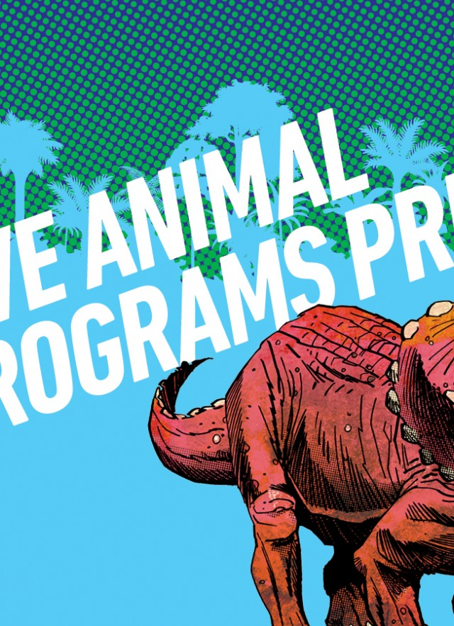 Dino Fest logo and title of program next to image of a Triceratops