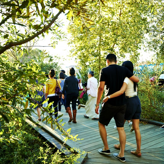 guests walking on pathway through nature gardens