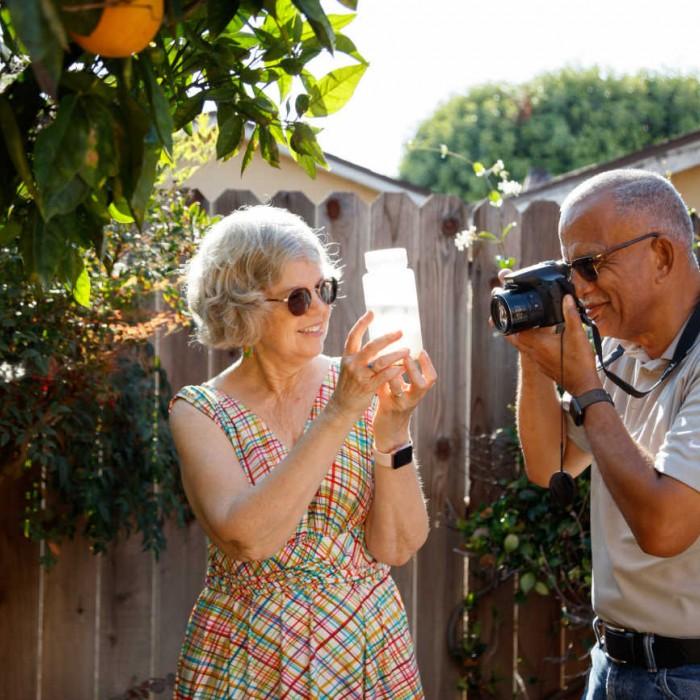 Kathy and John Dean in backyard