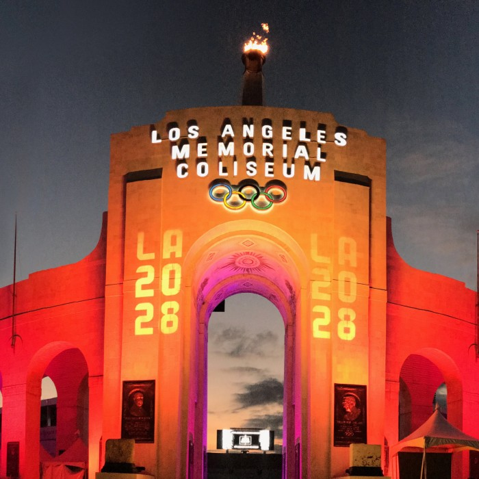 LA memorial coliseum lit up at night