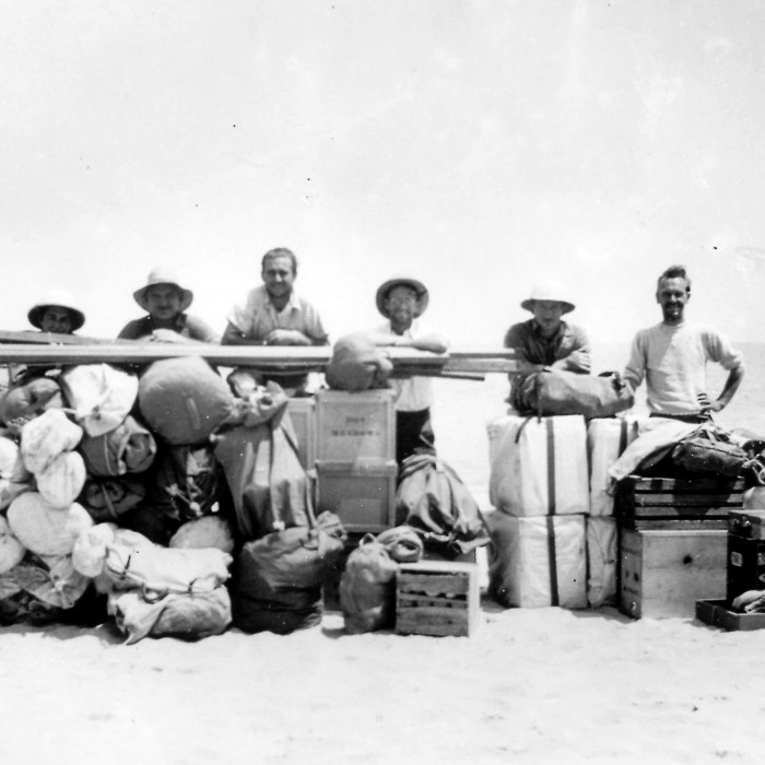 Anthropology research expedition to Channel Islands, archival photo w/ lots of equipment
