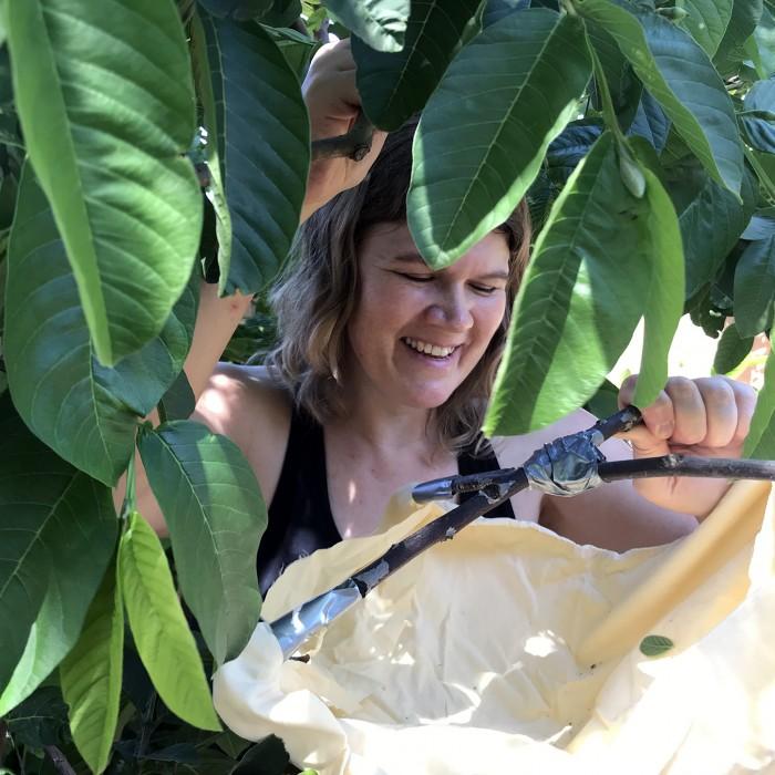 Woman holding beat sheet under a leafy bush