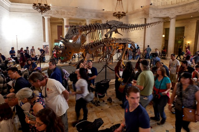 Image of guests in the Grand Foyer during Dino Fest