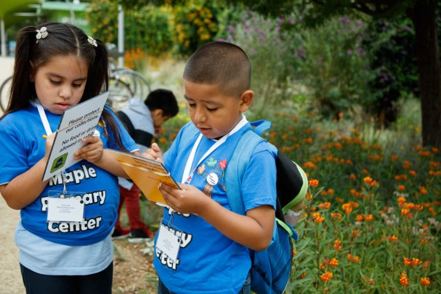 Kids doing a survey in the Nature Gardens.