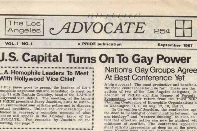 The Advocate First Issue Headline