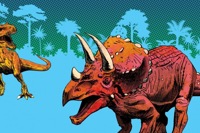 Image of Triceratops and T Rex.
