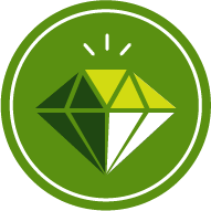 Icon of a diamond to represent gem and minerals
