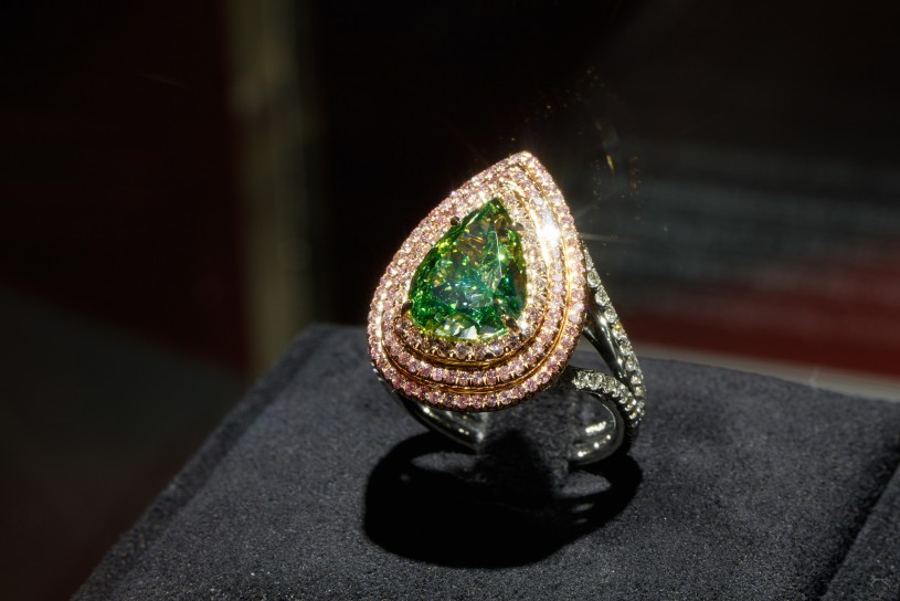 green diamond ring in gem vault