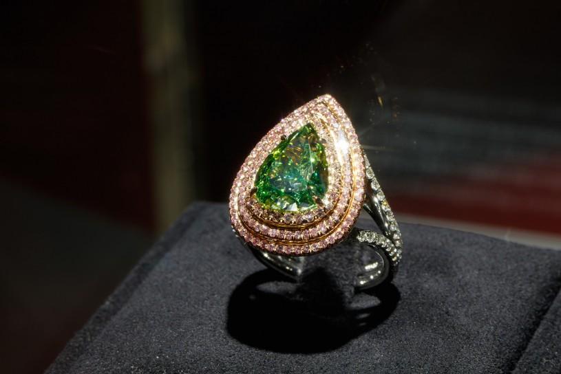 green diamond ring in gem vault