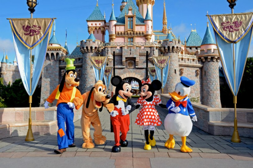 Disneyland castle with characters