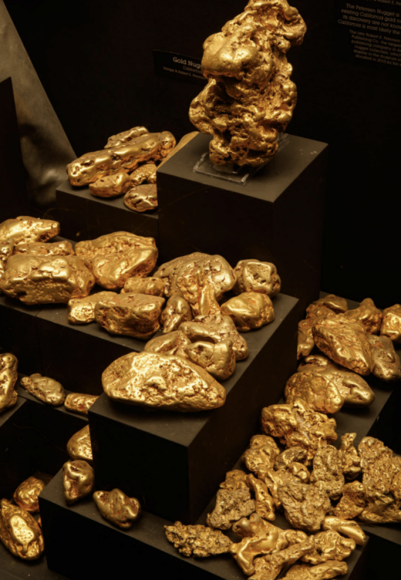 Gold nuggets from the museum's gem and mineral collection