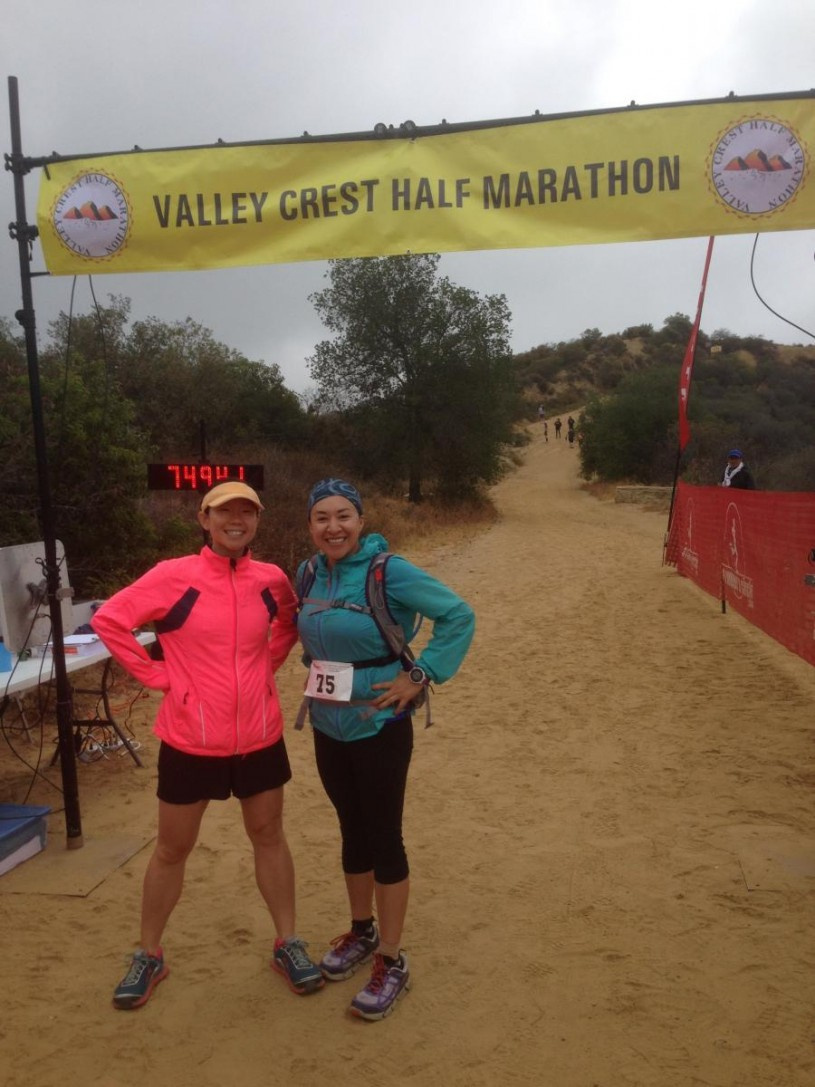 Helen on her first trail half marathon in the Santa Monica Mountains with running buddy Angelika Frias.