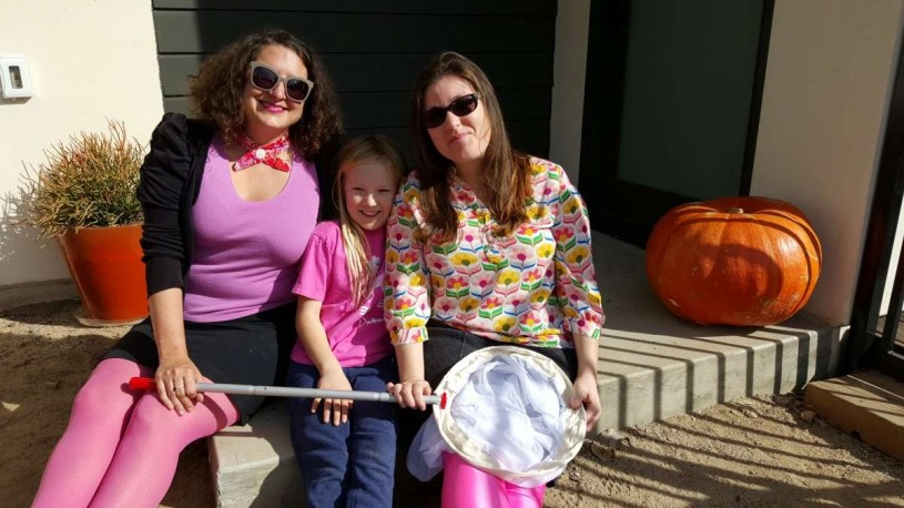 Lila, Charlotte and Emily after the hunt (they all dressed in pink for the occasion).