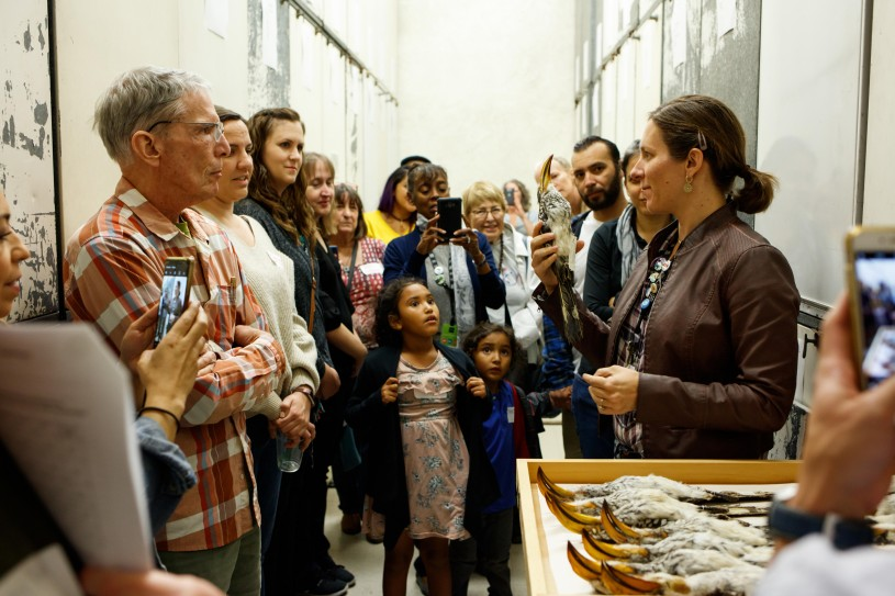 A large group of people look at a bird specimen that is held by an NHM scientist