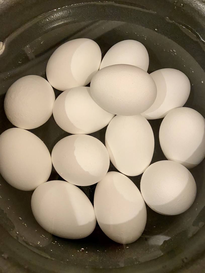 A bowl of hard boiled eggs