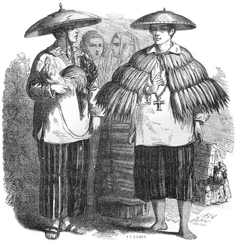 Early 1800s Filipinos in traditional barong tagalog (embroidered long-sleeved shirt), esclavina (cape), and salakot