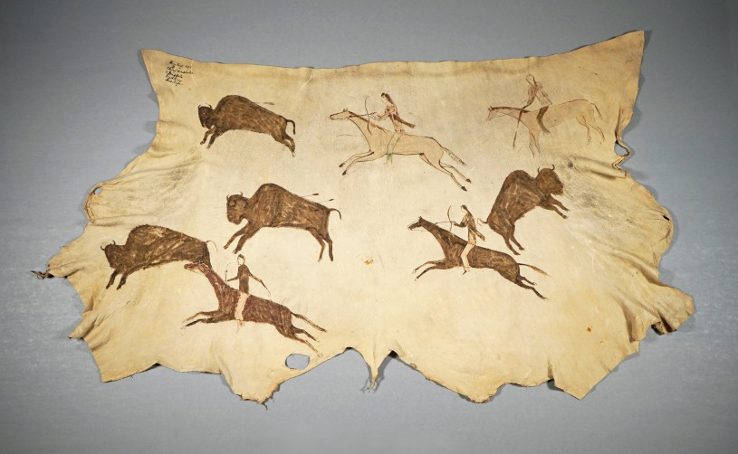 Painted hide with multiple buffalo