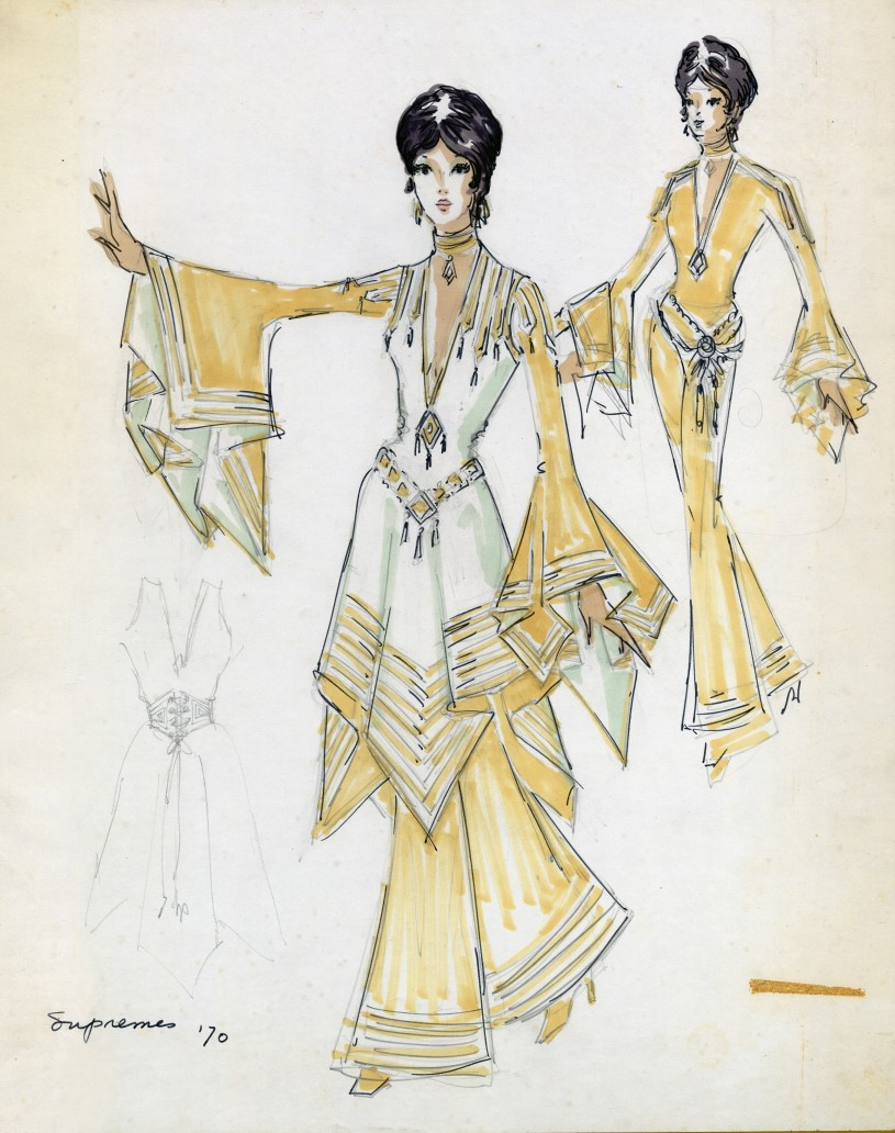 Sketch of a Supremes gown - with large flowy sleeves and bottoms.