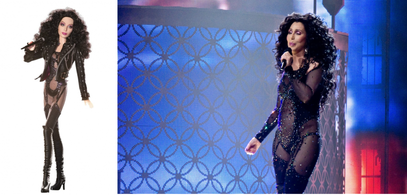 Cher doll left and Cher singing in tour right