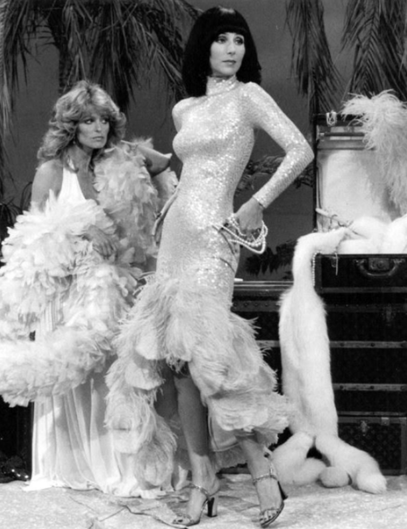 Cher wearing Bob Mackie dress with Farrah Fawcett