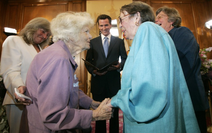 Phyllis Lyon marries Del Martin at a wedding ceremony officiated by then-Mayor Gavin Newsom of San Francisco in 2008