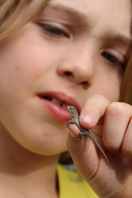 Jude Ready holding a lizard nature blog