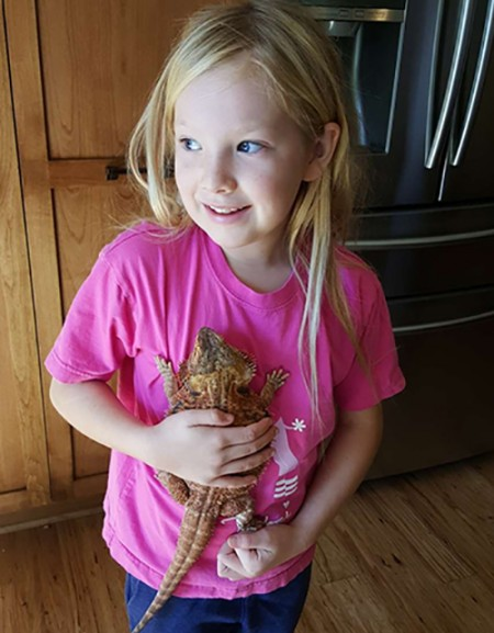 Charlotte with bearded dragon Flamey