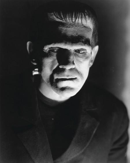 Still image from horror film Frankenstein, Frankenstein's monster looks to the left.