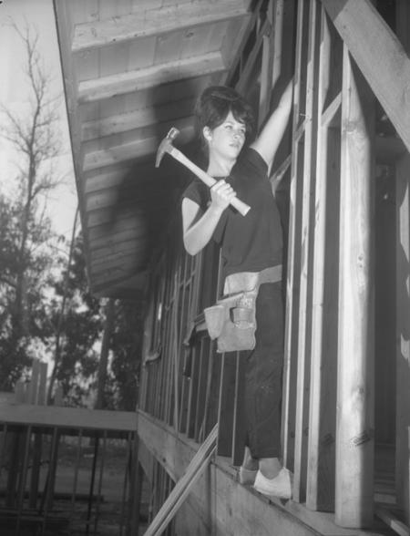 Judi Burgess the first female carpenter apprentice in Orange County in 1963